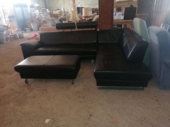 Ъглов кожен диван с табуретка - внос от Европа