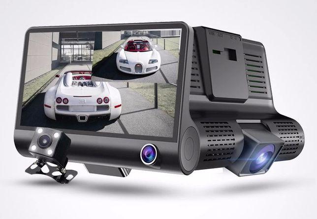 DVR Auto 3 Camere:Microfon de Interior,Fata,Marsalier-Ecran 4' IPS FHD