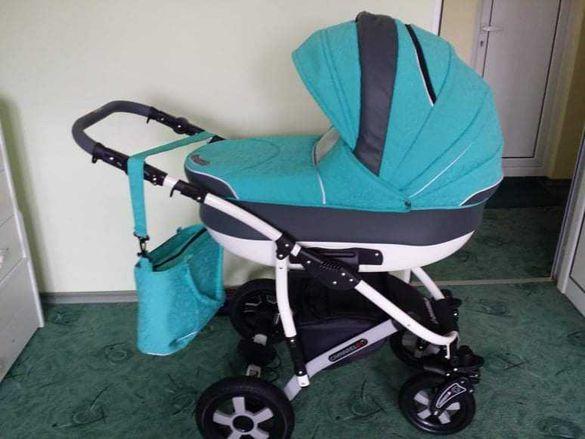 Бебешка количка Camarelo CARMELA 3 в 1 CR-25 Цвят Тюркоаз (Зелен)
