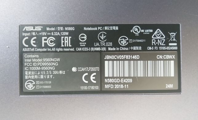 Laptop Asus Vivobook N580GD - Defect(RAM 8GB, SSD 128GB, HDD 500GB)