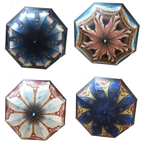 Дамски чадър с дълга дръжка, четири картинки, КОД: 668