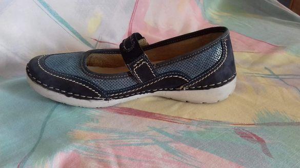 Дамски спортни обувки от естествена кожа в синьо с перфорации летни- с