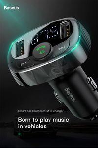 FM трансмитер+Bluetooth и зарядно за кола за мобилни устройства Baseus