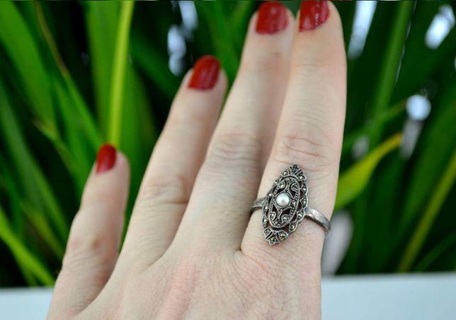 Inel argint vechi Perla Marcasite Art Deco Austria Anii 30
