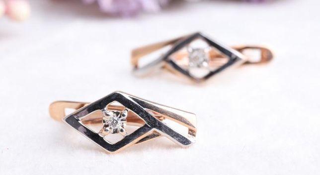 Серьги с бриллиантом , золото 585 Россия, вес 1.85 г. «Ломбард Белый»
