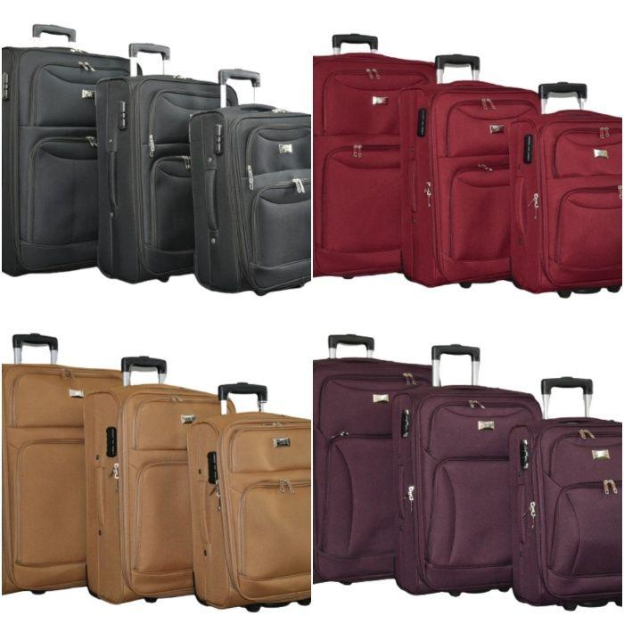 Здрави текстилни куфари в 3 размера, 5 цвята, КОД: 1029-2
