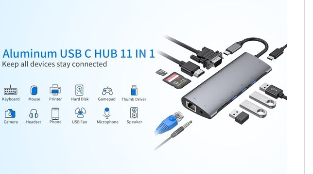 Usb C Hub ,11 in 1,Adaptor MacBook Pro