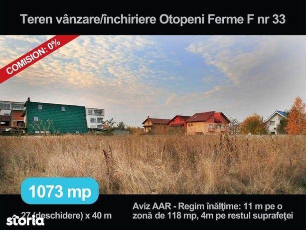 Vanzare, inchiriere teren de 1073 mp in Otopeni, Ferme F nr. 33