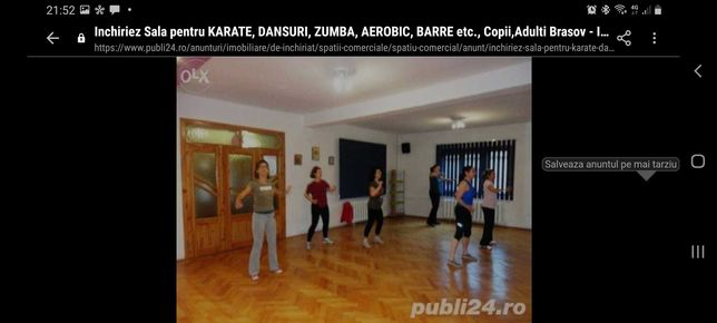 Închiriez Sală Dansuri, Karate, Zumba, Balet, Aerobic copii și adulți