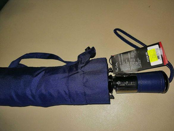 """Оригинален чадър """"Pierre Cardin"""", противоветрен, с масивна рама.2"""