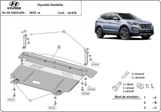 Scut metalic pentru motor Hyundai Santa Fe 2012-prezent, otel 2mm