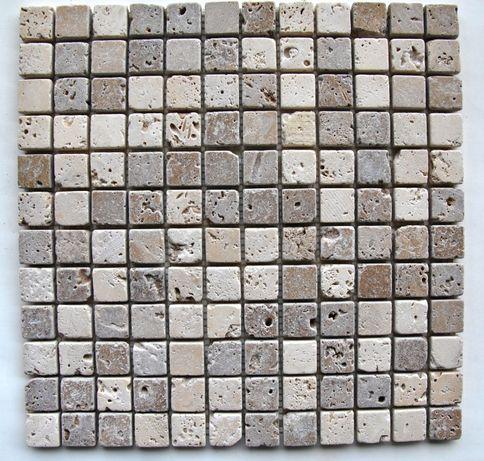 Mozaic din travertin mixt alb-noce antichizat marmura,piatra