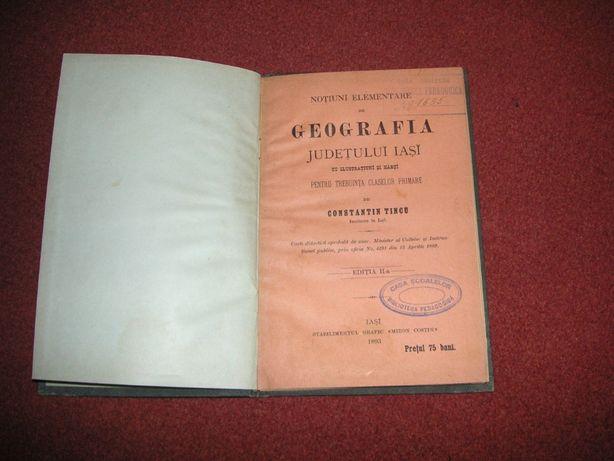 Geografia judetului Iasi - 2 harti atasate - Constantin Tincu - 1893