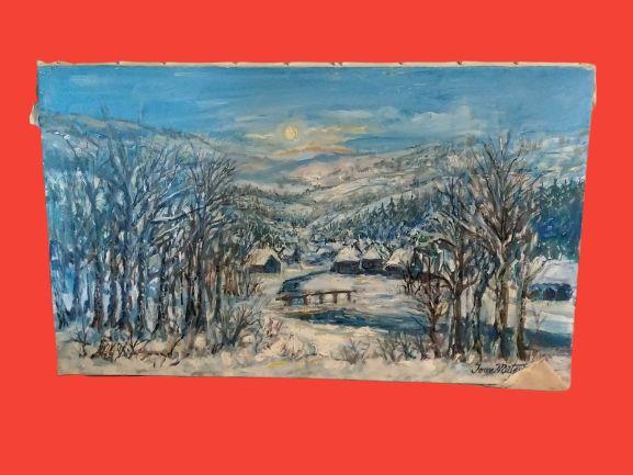 Tablou, pictura ulei, pictor Ioan Matasareanu, peisaj iarna, original