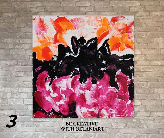 Абстрактна картина на платно с акрини бои подарък за рожден ден