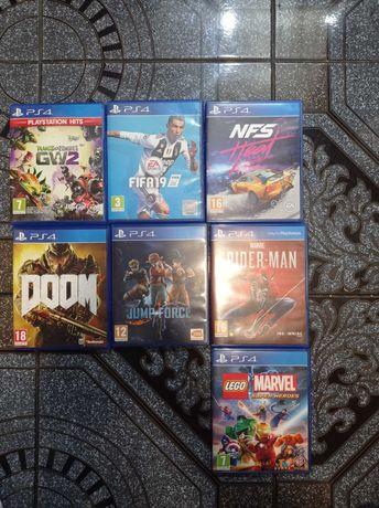 Vând PS4 +7 jocuri+ kit volan cu pedale, 1 controler