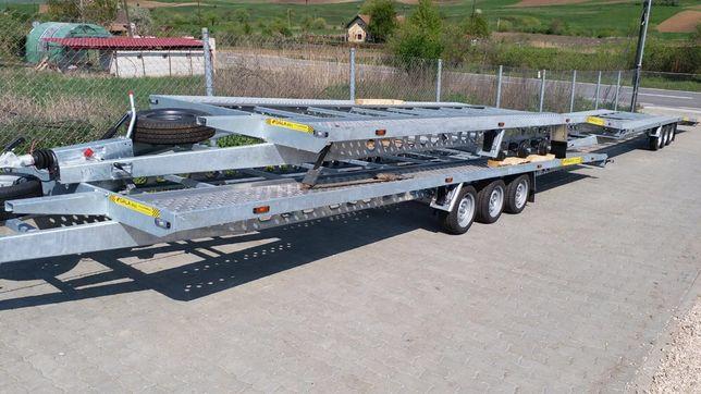 Inchiriez trailer cu cu 2 axe ,3 axe de 9 metri pentru 2 masini!Noua!