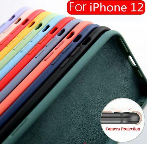 Huse silicon cu protectie camera iPhone 12 Negru Rosu Albastru