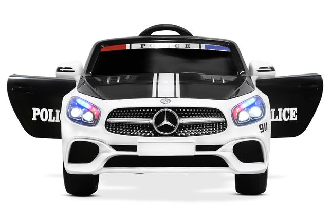 Masinuta electrica de politie Mercedes SL500 90W PREMIUM #Alb