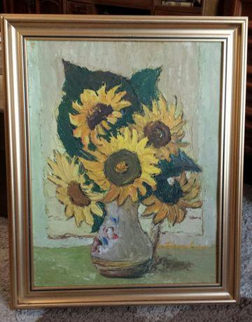 Tablou Vază cu floarea soarelui-Maria Franculescu