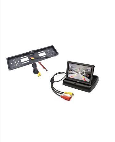 Pachet Suport numar inmatriculare cu camera video marsarier + Display