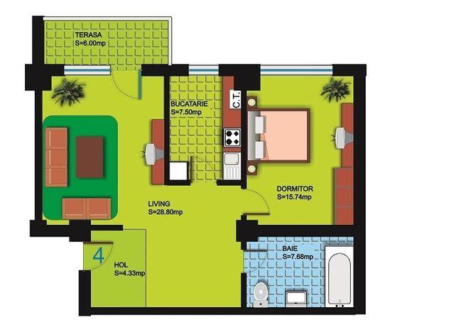 Vand apartament tip 4 Confort City