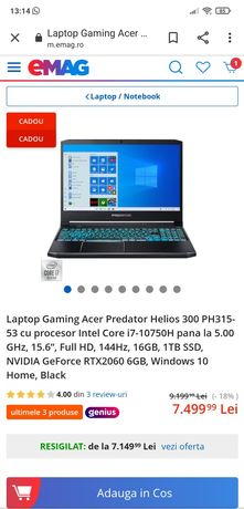 Laptop gaming Acer Predator Helios 300
