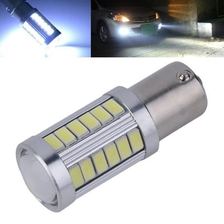 Bec led P21W / BA15S canbus, 33 leduri+lupa , lumina alba 6000k