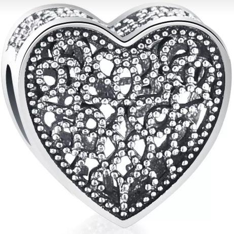 Талисман Сърце за гривна тип Пандора