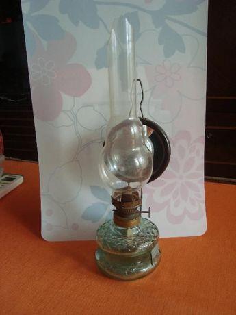 Стара газена лампа Българска стъклена с огледало