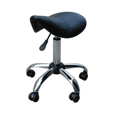 *Козметичен стол табуретка Urban 50/64 см - черна/бяла