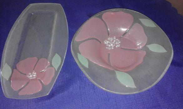 Плато и купа за плодове, нежни цветове, чешко стъкло