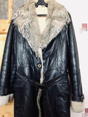 Кожаная зимняя куртка на овчине