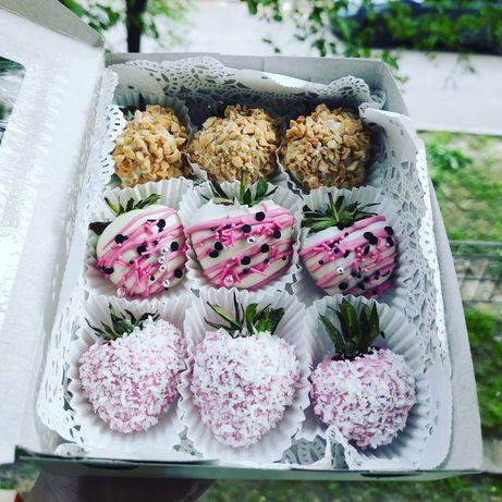 Клубника в шоколаде,цветы, сладкий подарок, шоколадная клубника, букет