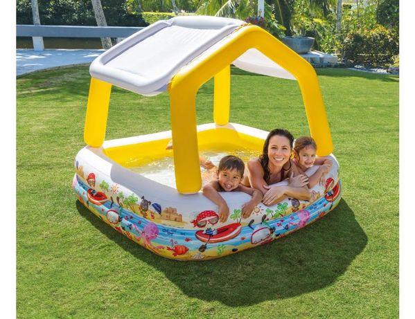 Насос в подарок! Надувной бассейн с навесом 157х157х122 см, Intex