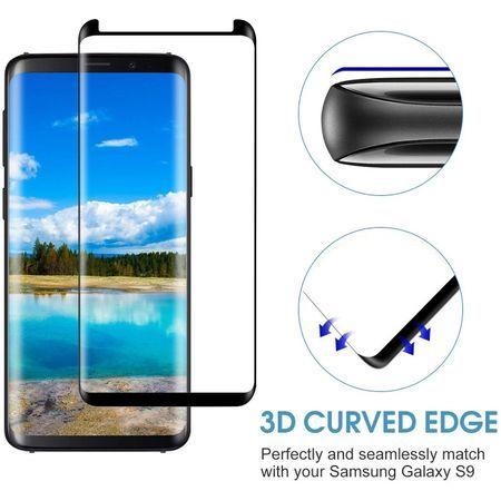 Folie sticla curbata 5D Full Glue Samsung S9, Negru MONTAJ GRATUIT