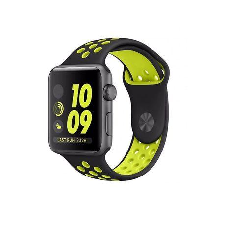 Curea silicon perforata ceas Apple Watch 5 4 3 2 42/44 mm negru verde