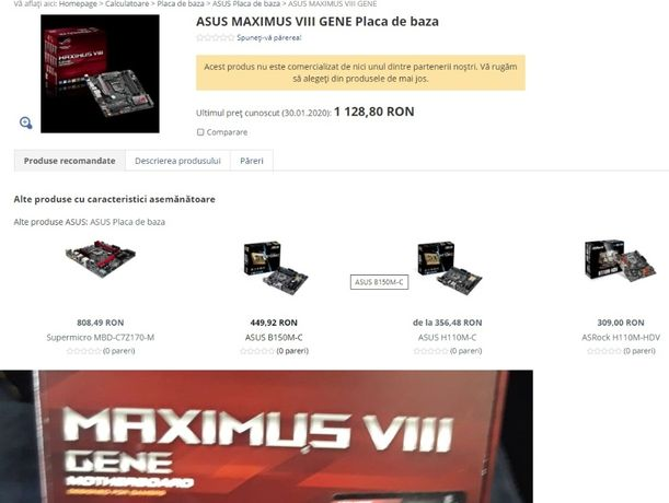 Kit gaming i5 6500+ Placa de baza -ASUS MAXIMUS VIII Gene -noi
