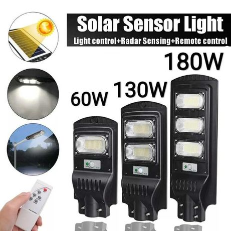 Соларна улична ламп 40W, 60W, 100W, 130W, 180W с фотоклетка и дистанци