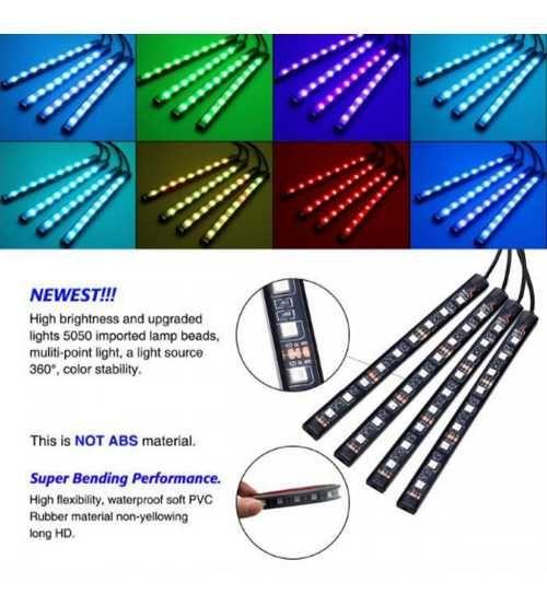 Kit 4 Benzi LED RGB Interior/Exterior IP68 Dimmer Muzical SUPERBRITE.