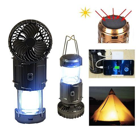 Соларна лампа за къмпинг 4в1 с вентилатор и презареждаща се батерия