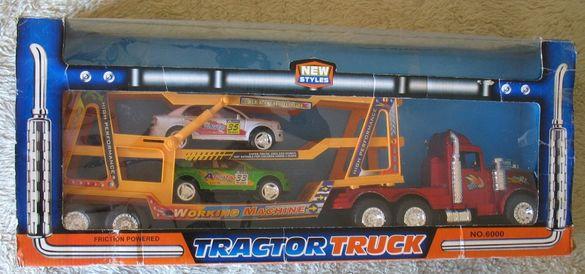 Детски камион автовоз с 2 бр спортни коли.