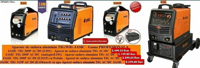Aparate de sudura aluminiu/inox/otel TIG/WIG JASIC - Gama PROFESIONALA