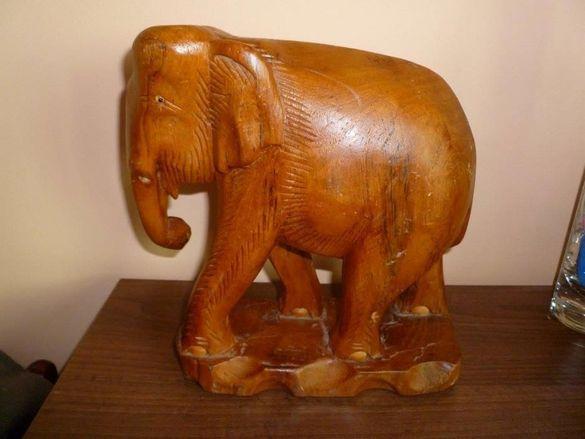 Уникална дърворезба - голям ръчно изработен слон, ваза