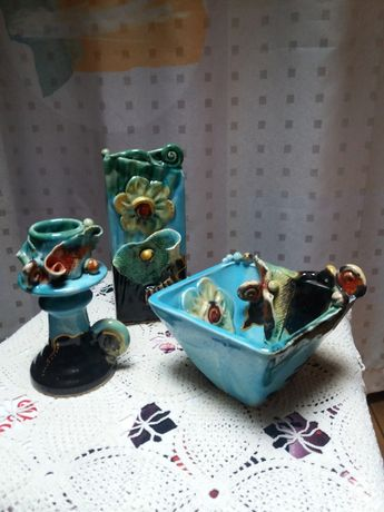 Керамичен сервиз – ваза, свещник, купа