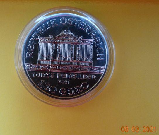 Moneda 1oz=31gram Ag pur capsula 1.5 EURO Vienna Philarmonic 2021