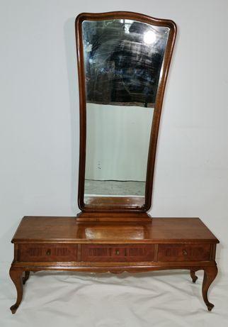 Toaleta cu Oglinda Vintage; Comodă cu 3 Sertare