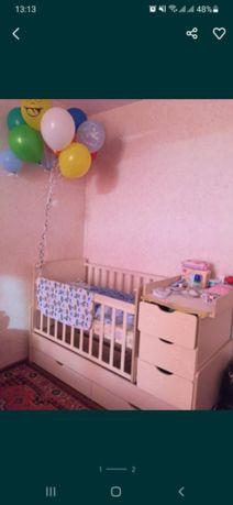 Монеж детская кровать трансформер 2 в 1 бортики кокан плед в подарок