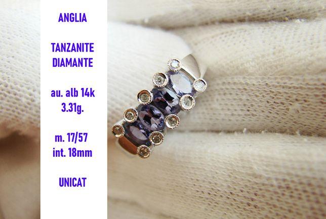 Inel Aur Alb 14K Cu Tanzanite Si Diamante