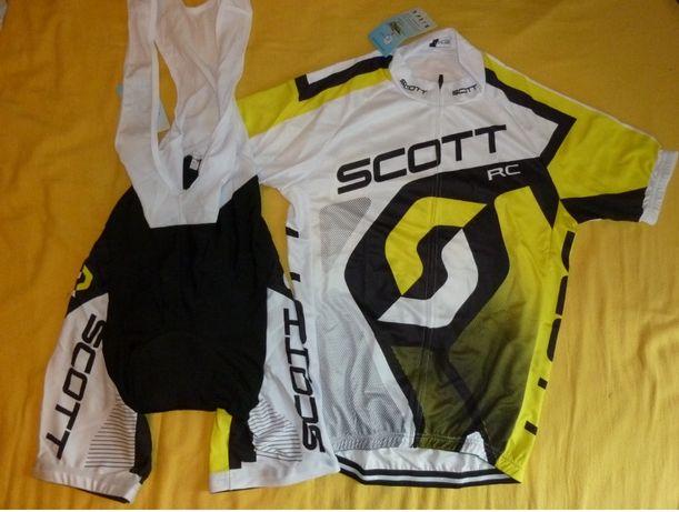 Echipament ciclism Scott galben set pantaloni si tricou